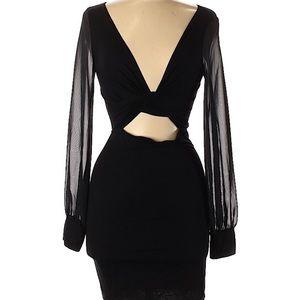 Solemio plunge mini dress